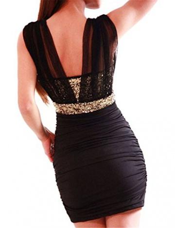 HOUSWEETY Sexy schwarz Damen Rückenfrei Pailletten Kleid Minikleid Party Abendkleid Cocktailkleid Dress Skirt S - 2