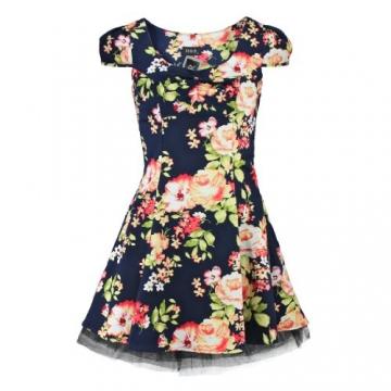 H&R London Minikleid ROMANTIC FLOWERS DRESS navy S - 1