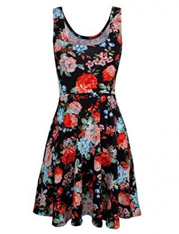 HRYfashion Damen figurbetonend knielanges Kleid aermellos mit Blumenmuster HRYCWD054-BLACK-US S - 2