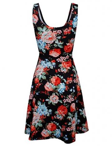 HRYfashion Damen figurbetonend knielanges Kleid aermellos mit Blumenmuster HRYCWD054-BLACK-US S - 3