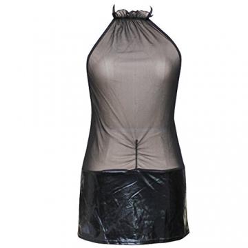 iEFiEL Damen Lingerie Dessous Leder Lack Negligee Clubwear Partykleid - 3