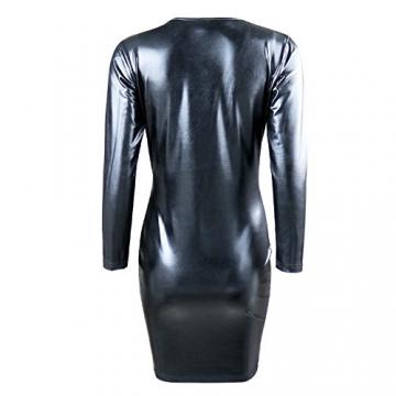 iEFiEL Damen Sexy Bodycon Kleid Wetlook Leder Lack Bandage Party Ballkleid Clubwear (XXL, Schwarz) -
