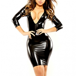 iEFiEL Damen Sexy Bodycon Kleid Wetlook Leder Lack Bandage Party Ballkleid Clubwear (XL, Schwarz) -