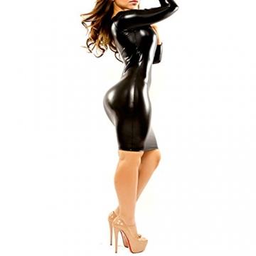 iEFiEL Damen Sexy Bodycon Kleid Wetlook Leder Lack Bandage Party Ballkleid Clubwear (XL, Schwarz) -