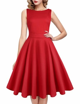 ihot 1950er Rockabilly Retro Kleid Rot 1