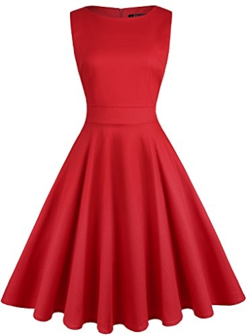 ihot 1950er Rockabilly Retro Kleid Rot 4
