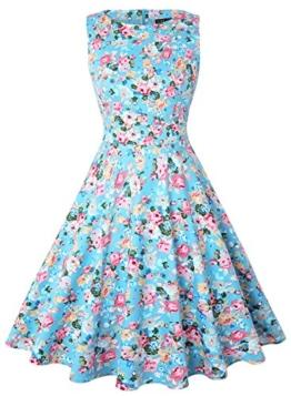 ihot Elegant Damen 50s Retro Vintage Rockabilly Kleid Partykleider Cocktailkleider (M, Hellblau Floral) - 1