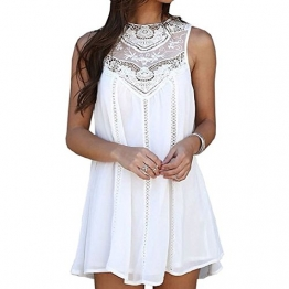 IHRKleid Damen Kleid Boho Menschen Hippie Klassiker (EU36(Asia M), Weiß) -
