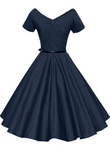 ILover Frauen 1950er V Ausschnitt Vintage Rockabilly Swing Abend Partei Kleid -