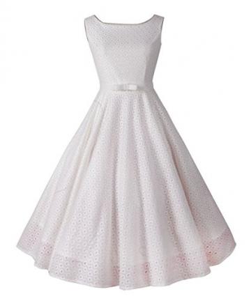 iLover klassischer Weinlese Audrey Hepburn Stil 1950 Rockabilly großen Saum Abendkleid -
