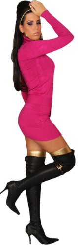 In Style Damen Langarm Strick Kleid/Pullover mit Rollkragen, eine Größe (4-10) Gr. One size, Rosa -