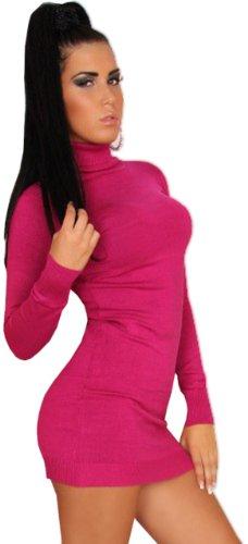 In Style Damen Strickkleid & Pullover langärmelig mit Rollkragen Einheitsgröße (34-40), pink - 2