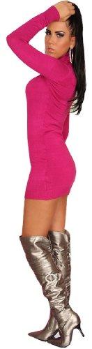 In Style Damen Strickkleid & Pullover langärmelig mit Rollkragen Einheitsgröße (34-40), pink - 3
