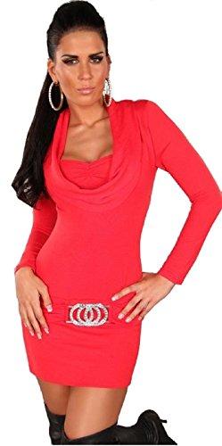 In-Stylefashion Damen Strickkleid mit Wasserfallausschnitt und Gürtelschnalle, Farbe:Rot;Größe:S/M -