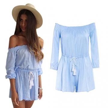Internet Damen Kleid Ab Schulter Partei Jumpsuit ( EU38(Asia L) , Blau ) -