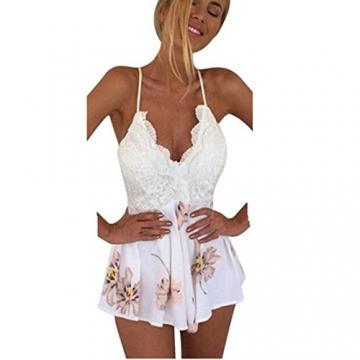 Internet Damen Kleid Lace Druck mit V-Ausschnitt Riemchen Jumpsuit ( EU36(Asia M), Weiß ) -