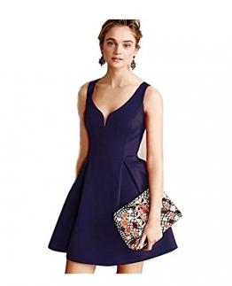 iPretty Damen elegant Faltenrock tief V-Ausschitt Rückfrei Sommerkleid kurz Retro Vintage Party Cocktailkleider Abendkleider-Blau-M -