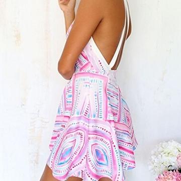ipretty Sexy Damen Sommerkleid kurz Ärmellos Tief V-Ausschnitt Damen strandkleider BOHO damen Kleid Rock Partykleid Cocktaikleid -
