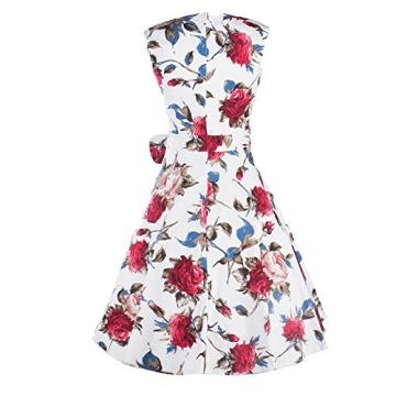 iPretty Sommerkleid Damen ärmellos mit Gürtel Rockenkleid Faltenkleid Blumenmuster Vintage Cocktailkleid Knielang -