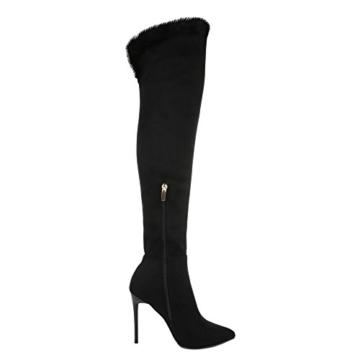Ital-Design Overknee Stiefel Damen-Schuhe Klassischer Stiefel Pfennig-/Stilettoabsatz High Heels Reißverschluss Stiefel Schwarz, Gr 39, Sy-13- - 2