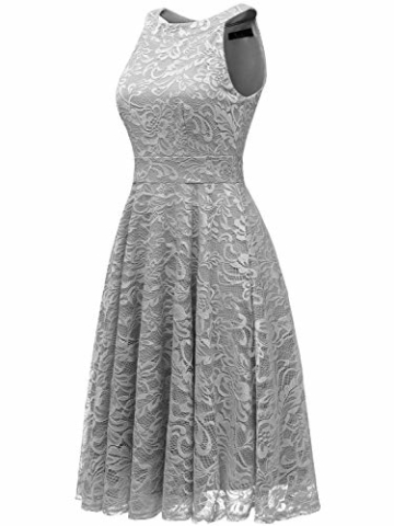 IVNIS IV9006 Damen Neckholder Floral Spitze Brautjungfern Partykleid Ärmellos Cocktail Kleid Grau 2XL - 2