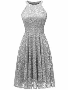 IVNIS IV9006 Damen Neckholder Floral Spitze Brautjungfern Partykleid Ärmellos Cocktail Kleid Grau 2XL - 1
