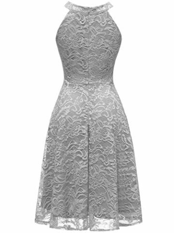 IVNIS IV9006 Damen Neckholder Floral Spitze Brautjungfern Partykleid Ärmellos Cocktail Kleid Grau 2XL - 4