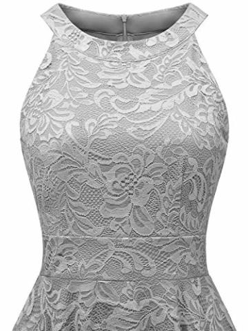 IVNIS IV9006 Damen Neckholder Floral Spitze Brautjungfern Partykleid Ärmellos Cocktail Kleid Grau 2XL - 7