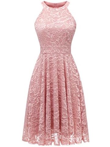 IVNIS IV9006 Damen Neckholder Floral Spitze Brautjungfern Partykleid Ärmellos Cocktail Kleid Blush M - 1