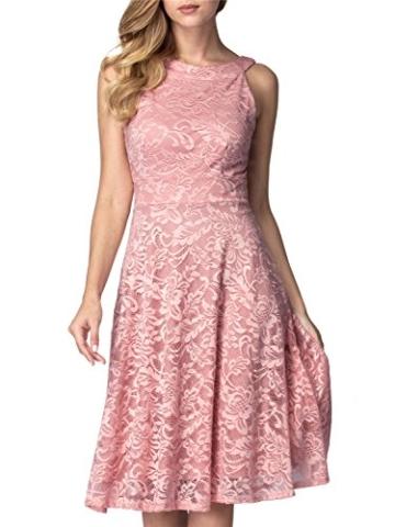 IVNIS IV9006 Damen Neckholder Floral Spitze Brautjungfern Partykleid Ärmellos Cocktail Kleid Blush M - 2
