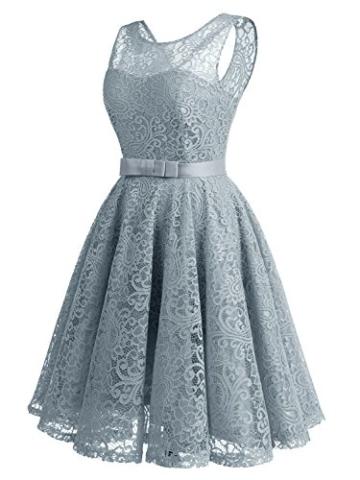 IVNIS RS90016 Ärmellos Brautjungfern Kleid Damen Alinie Floral Knielang Spitzen Cocktail Party BallKleid Abendkleider Grau L - 4