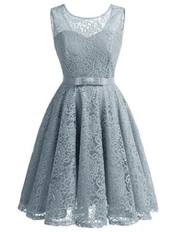 IVNIS RS90016 Ärmellos Brautjungfern Kleid Damen Alinie Floral Knielang Spitzen Cocktail Party BallKleid Abendkleider Grau L - 1