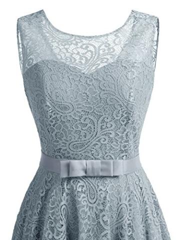 IVNIS RS90016 Ärmellos Brautjungfern Kleid Damen Alinie Floral Knielang Spitzen Cocktail Party BallKleid Abendkleider Grau L - 5