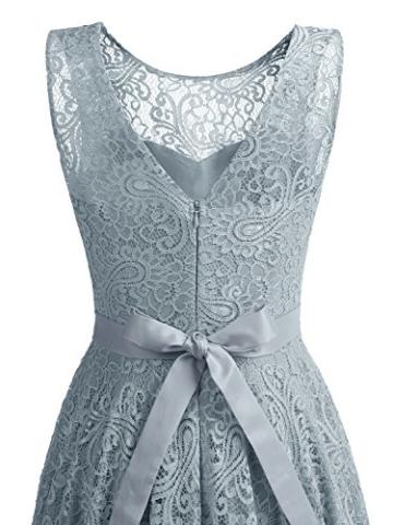 IVNIS RS90016 Ärmellos Brautjungfern Kleid Damen Alinie Floral Knielang Spitzen Cocktail Party BallKleid Abendkleider Grau L - 6