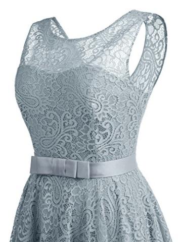 IVNIS RS90016 Ärmellos Brautjungfern Kleid Damen Alinie Floral Knielang Spitzen Cocktail Party BallKleid Abendkleider Grau L - 7