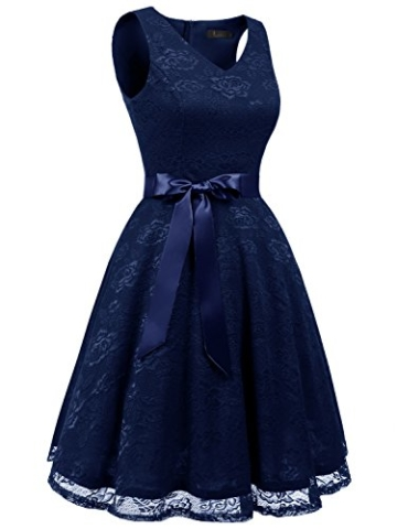 IVNIS RS90025 Damen Ärmellos Vintage Spitzen Abendkleider Cocktail Party Floral Kleid Navy Blue XL - 4