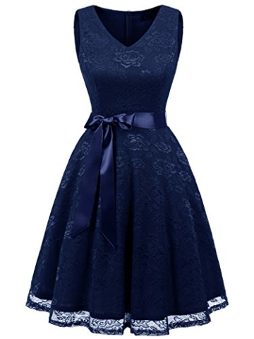 IVNIS RS90025 Damen Ärmellos Vintage Spitzen Abendkleider Cocktail Party Floral Kleid Navy Blue XL - 8