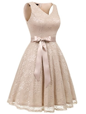 IVNIS RS90025 Damen Ärmellos Vintage Spitzen Abendkleider Cocktail Party Floral Kleid Champagne S - 4