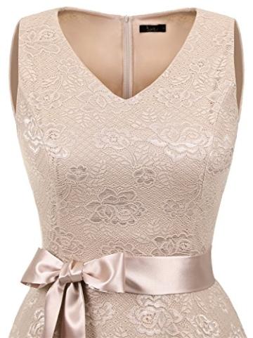 IVNIS RS90025 Damen Ärmellos Vintage Spitzen Abendkleider Cocktail Party Floral Kleid Champagne S - 5