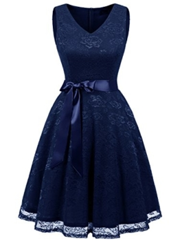 IVNIS RS90025 Damen Ärmellos Vintage Spitzen Abendkleider Cocktail Party Floral Kleid Navy Blue XL - 1