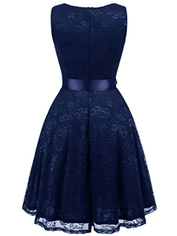 IVNIS RS90025 Damen Ärmellos Vintage Spitzen Abendkleider Cocktail Party Floral Kleid Navy Blue XL - 2