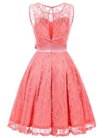 IVNIS RS90026 Damen Vintage Floral Kleider Brautjungfernkleider Spitzenkleid Ärmellos Fliege Partykleid Coral 3XL - 2