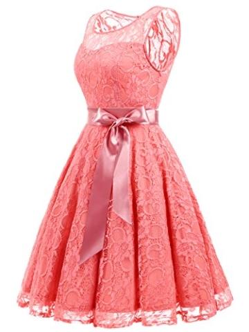 IVNIS RS90026 Damen Vintage Floral Kleider Brautjungfernkleider Spitzenkleid Ärmellos Fliege Partykleid Coral 3XL - 4