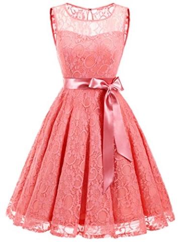 IVNIS RS90026 Damen Vintage Floral Kleider Brautjungfernkleider Spitzenkleid Ärmellos Fliege Partykleid Coral 3XL - 1