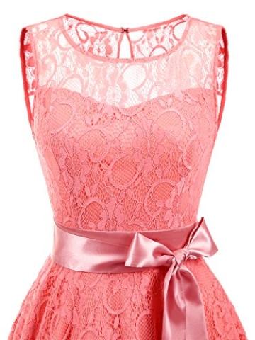 IVNIS RS90026 Damen Vintage Floral Kleider Brautjungfernkleider Spitzenkleid Ärmellos Fliege Partykleid Coral 3XL - 5