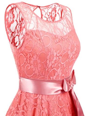 IVNIS RS90026 Damen Vintage Floral Kleider Brautjungfernkleider Spitzenkleid Ärmellos Fliege Partykleid Coral 3XL - 6