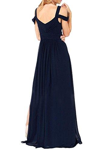 Jasmine House Damen Langes Chiffon Kleider mit tief V-Ausschnitt trägerlos Maxikleid Brautkleid Festkleid Partykleid Cocktailkleid Abendkleid mit Schlitz (Asien XL (EU 38), Dunkelblau) -