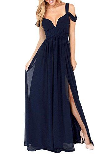 ツ Jasmine House Langes Chiffon Kleid mit tiefen V-Ausschnitt ...