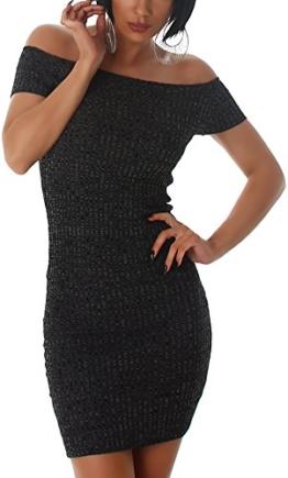 Jela London Carmen Stretchkleid Strickkleid dünn Midi Slim-Fit Streifen zweifarbig, Schwarz - 1