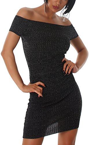 Jela London Carmen Stretchkleid Strickkleid dünn Midi Slim-Fit Streifen zweifarbig, Schwarz - 5